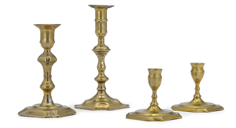 A PAIR OF OF GEORGE II BRASS L