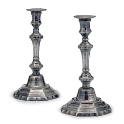 A PAIR OF ENGRAVED SILVERED BR