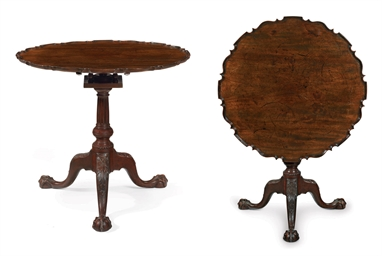 a chippendale carved and figured mahogany scalloped-top tea table