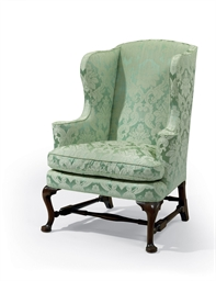 A QUEEN ANNE UPHOLSTERED EASY
