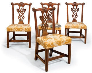 A SET OF FOUR CHIPPENDALE WALN