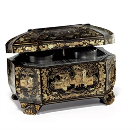 A BLACK AND GILT LACQUER TEA C