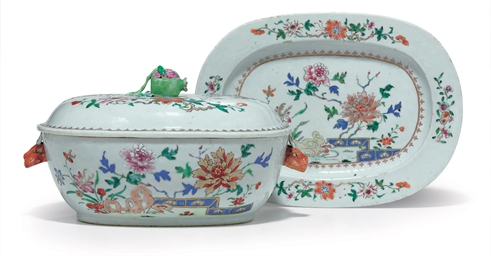 A FAMILLE ROSE SOUP TUREEN, CO