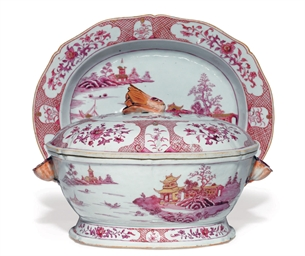A PUCE ENAMEL TUREEN, COVER AN