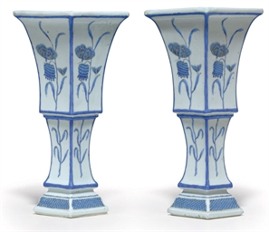 A PAIR OF BLUE ENAMEL VASES