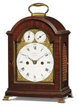 A GEORGE III BRASS-MOUNTED MAHOGANY STRIKING EIGHT DAY TABLE CLOCK