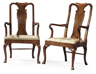 A PAIR OF GEORGE I WALNUT ARMC