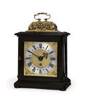 A WILLIAM AND MARY GILT-BRASS MOUNTED EBONISED EIGHT DAY TIMEPIECE TABLE CLOCK WITH PULL QUARTER REPEAT