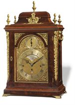 A GEORGE III BRASS-MOUNTED MAHOGANY QUARTER-CHIMING EIGHT DAY TABLE CLOCK