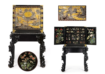 A CHINESE GILT AND POLYCHROME
