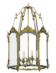 A FRENCH ORMOLU AND GLASS HEXA
