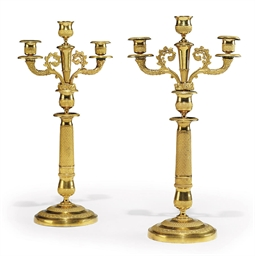 A PAIR OF RUSSIAN ORMOLU THREE