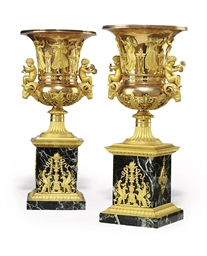 A PAIR OF EMPIRE ORMOLU AND VE