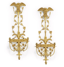 A PAIR OF GILTWOOD AND BRASS T