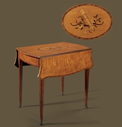 A GEORGE III SATINWOOD MARQUET