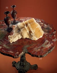 A PETRIFIED WOOD, WALNUT AND W