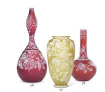 AN ENGLISH CLARET AND WHITE CAMEO GLASS VASE