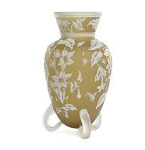 AN ENGLISH DEEP-CITRON AND WHITE CAMEO GLASS FOOTED VASE