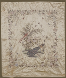 AN EMBROIDERED SILK HANGING