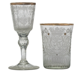 A SILESIAN WINE GLASS AND ARMO
