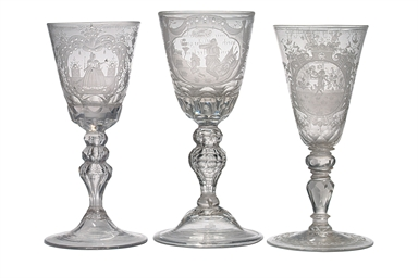 THREE GERMAN ENGRAVED GLASS GO