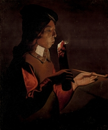 A young boy with a pipe, blowi
