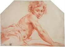 A seated male youth, his torso bare