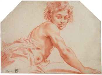 A seated male youth, his torso