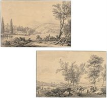 An Italianate river landscape with horsemen in the foreground; and An Italianate landscape with travellers and donkeys on a hilly road