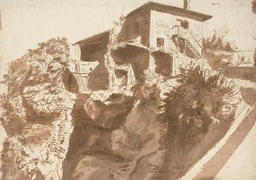 An Italian farmhouse on a rock