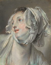 The head of a young woman wear