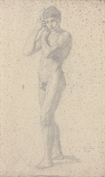 A young male nude listening to