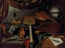 Musical instruments, books, music scores, a globe and a rooster on a table draped with a carpet