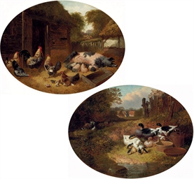 Pigs and Chickens in a Farmyar