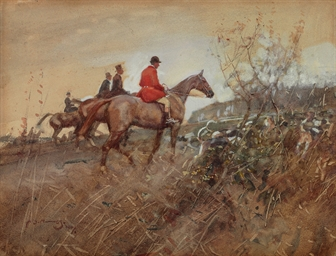Huntsmen and Hounds in a Field