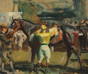 A Jockey in Yellow Unsaddling