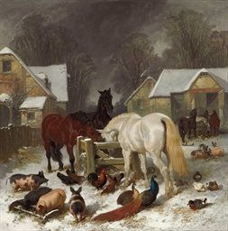 A Barnyard in the Snow