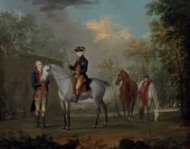 An equestrian portrait of His Royal Highness, Edward Augustus, Duke of York and Albany (1739-1767), attended by his Equerry Sir William Boothby and Richmond, his Groom, along a wall with a landscape beyond