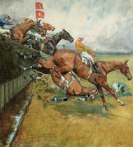 Captain Bennett and Sergeant Murphy at Becher's Brook, 1923 Grand National