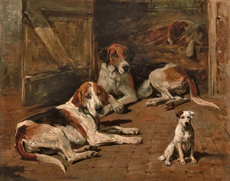 Hounds and a Terrier in a Stab
