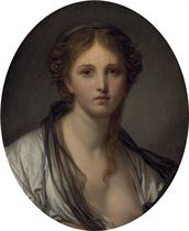 Portrait of a young woman, bust length, with a black scarf