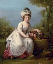 Portrait of a young girl, full-length, seated in a white dress with a basket of flowers, in a landscape
