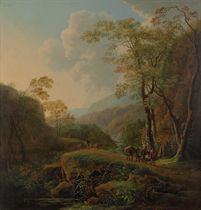 A wooded Italianate landscape with travelers on a path