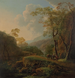 A wooded Italianate landscape
