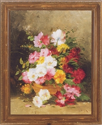 Still life of flowers in a bas