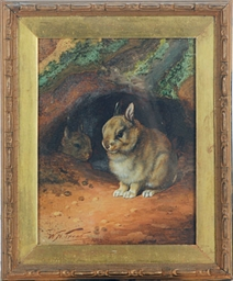 Bunnies by their hole