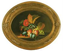 Still life of fruits, flowers and a glass of wine on a table; and a companion still life