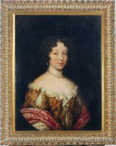 Portrait of a lady wearing pearls