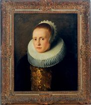 Portrait of a woman, wearing a molenkraag