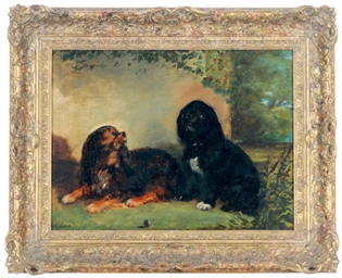 Two King Charles Spaniels in a
